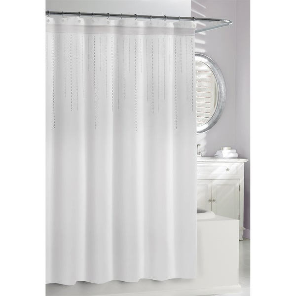White Rhinestones Shower Curtain