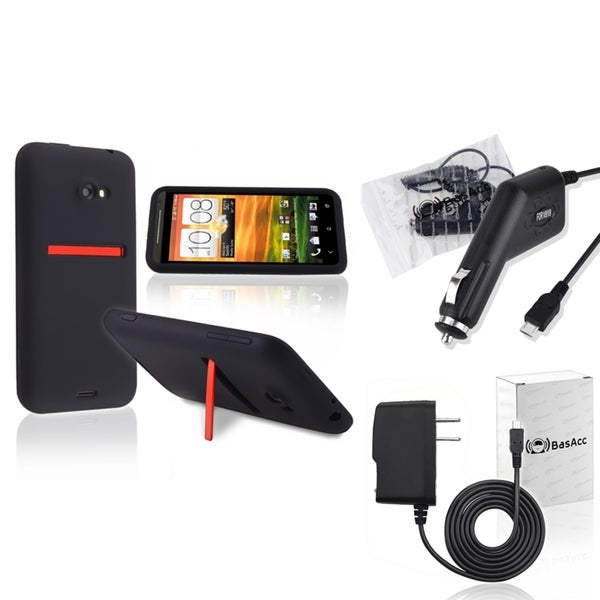 BasAcc Silicone Case/ Travel Charger/ Car Charger for HTC EVO 4G LTE