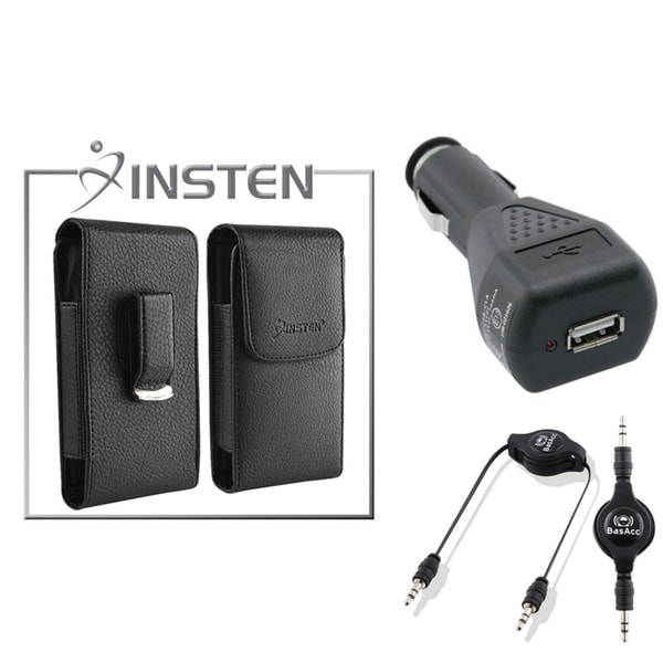 INSTEN Leather Case/ Car Charger/ Audio Cable for Apple iPhone 4/ 4S