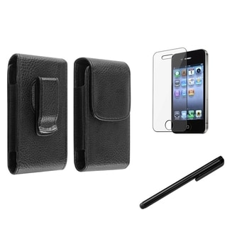 BasAcc Magnetic Leather Case/ Stylus/ Protector for Apple iPhone 4/ 4S