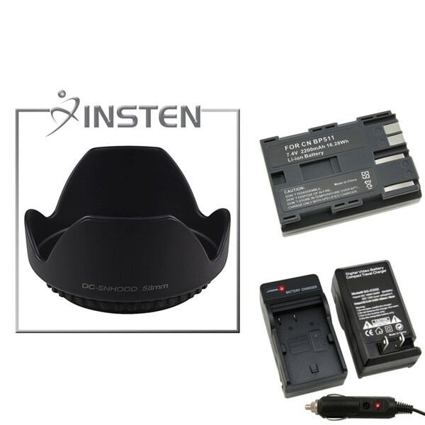 INSTEN Battery/ Charger Set/ Lens Hood for Canon EOS 30D/ 300D
