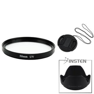 INSTEN Lens Hood/ Lens Cap/ UV Lens Filter for Canon/ Nikon 58-mm