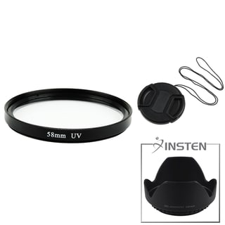 INSTEN Lens Hood/ Lens Cap/ UV Lens Filter for Canon/ Nikon 58-mm