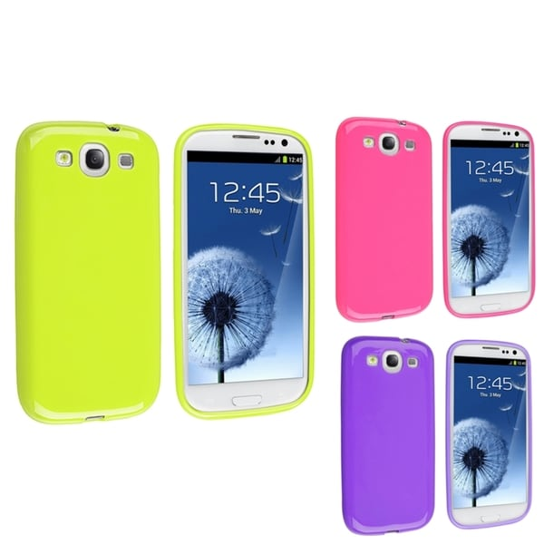 INSTEN Pink/ Green/ Purple TPU Phone Case Cover for Samsung Galaxy S3/ SIII i9300