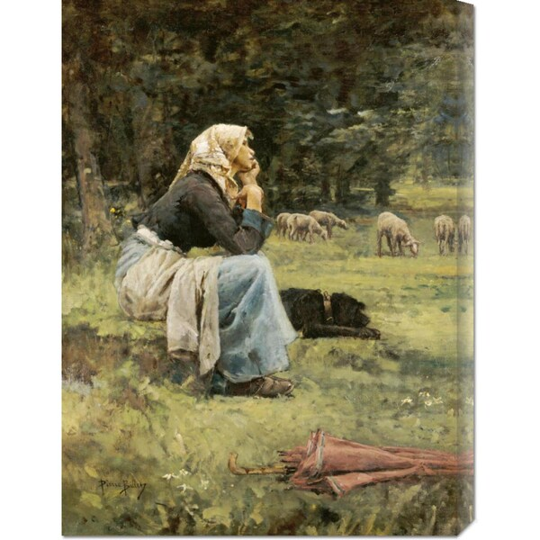 Pierre Billet 'A Young Shepherdess' Stretched Canvas Art