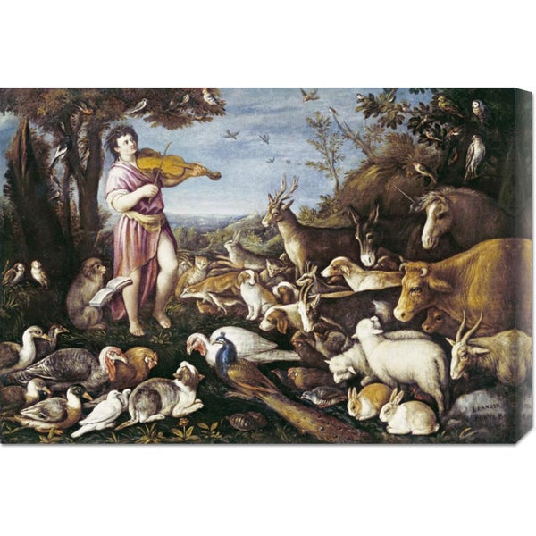 Global Gallery Leandro Da Ponte 'Orpheus Charming The Animals' Stretched Canvas Art