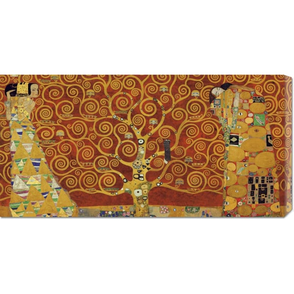 Gustav Klimt 'Tree of Life Red Variation' Stretched Canvas Art
