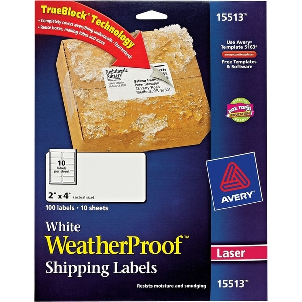 "Avery White WeatherProof Labels for Laser Printers 15513, 2"" x 4"", Pa"