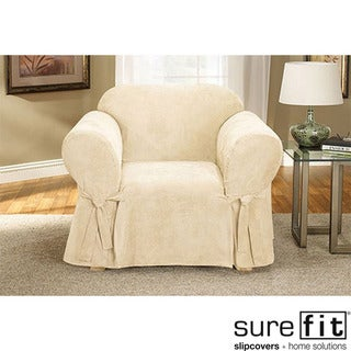 Soft Suede Cream Chair Slipcover