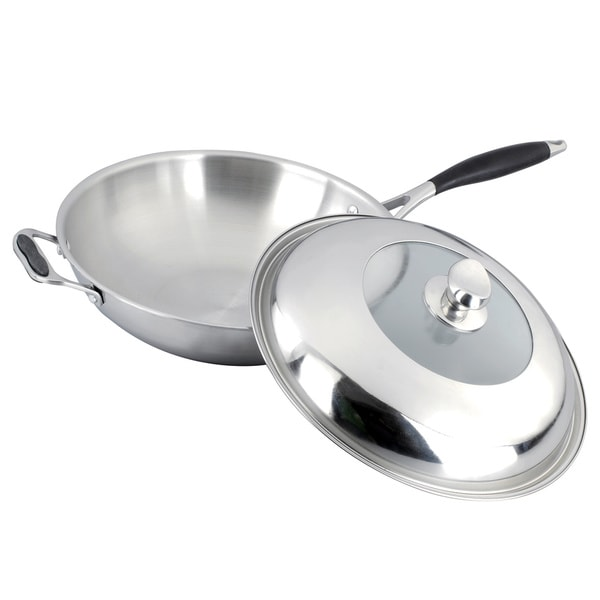Gourmet Chef 12 Inch Tri-Ply Stainless Steel Frying Pan
