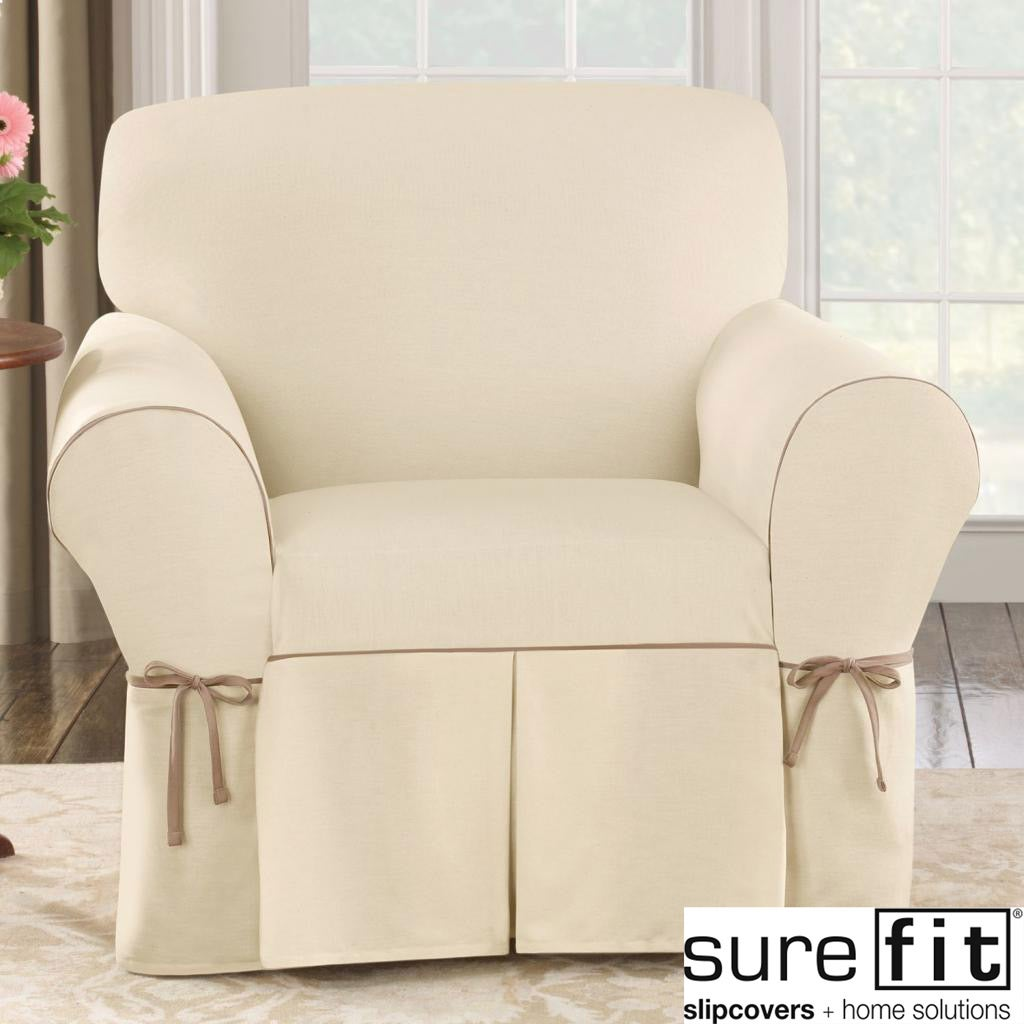 Sure Fit Contrast Cord Duck Natural Chair Slipcover at Sears.com