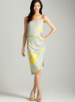 Halston Heritage Asymmetrical Print Slip Dress