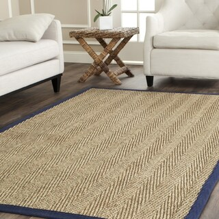 Hand-woven Contemporary Sisal Natural/ Blue Seagrass Rug (8' Square)