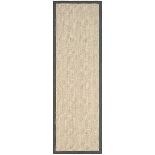 Hand-woven Resorts Natural/ Grey Fine Sisal Runner (2' 6 x 14')