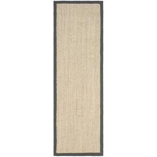 Safavieh Hand-woven Resorts Natural/ Grey Fine Sisal Runner (2' 6 x 14')