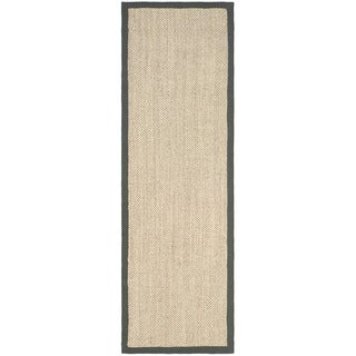 Hand-woven Resorts Natural/ Grey Fine Sisal Runner (2' 6 x 12')
