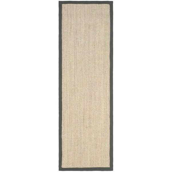Safavieh Hand-woven Resorts Natural/ Grey Fine Sisal Runner (2' 6 x 12')