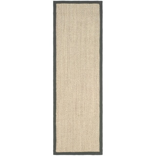 Hand-woven Resorts Natural/ Grey Fine Sisal Runner (2' 6 x 6')