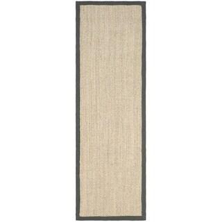 Safavieh Hand-woven Resorts Natural/ Grey Fine Sisal Runner (2' 6 x 20')