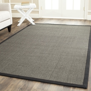 Safavieh Casual Natural Fiber Charcoal and Charcoal Border Sisal Rug (6' Square)