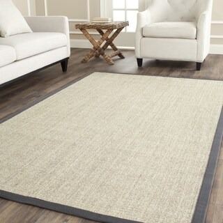 Safavieh Casual Natural Fiber Marble and Grey Border Sisal Rug (6' Square)