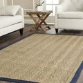 Hand-woven Sisal Natural/ Blue Seagrass Rug (6' Square)