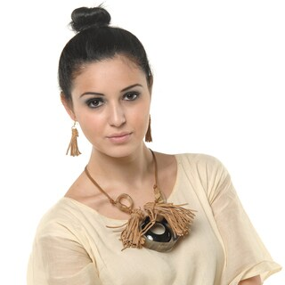 Eco Friendly Natural Leather and Horn Necklace and Earring Set (India)