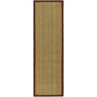 Hand-woven Sisal Natural/ Red Seagrass Runner (2' 6 x 10')