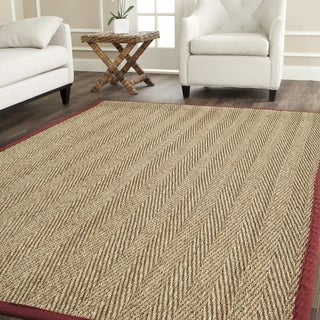 Safavieh Herringbone Natural Fiber Natural and Red Border Seagrass Rug (8' Square)