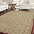 Hand-woven Sisal Natural/ Red Seagrass Rug (8' Square)