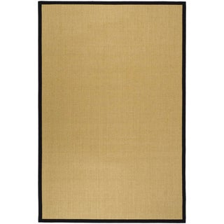Hand-woven Resorts Maize Beige/ Black Fine Sisal Rug