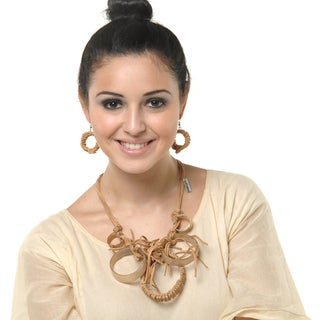 Eco Friendly Leather and Horn Necklace and Earring Set in Natural Tones (India)