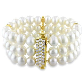 Miadora Cultured Freshwater Pearl with Silver and White Sapphire Clasp Bracelet (7.5-8 mm)