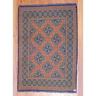 Afghan Hand-knotted Tribal Kilim Rust/ Green Wool Rug (3'6 x 5')