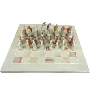 Hand-carved Soapstone 15-inch Board and Animal Chess Set (Kenya)