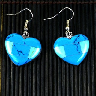 Inlaid Turquoise Heart Alpaca Silver Earrings (Mexico)