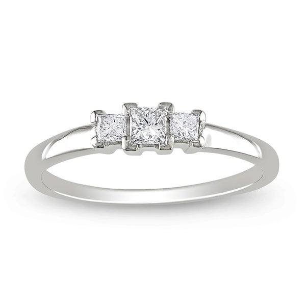 Miadora 14k White Gold 1/4ct TDW Diamond 3-stone Ring (G-H, SI1-SI2)