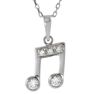Tressa Sterling Silver Cubic Zirconia Musical Note Necklace