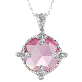 Journee Sterling Silver Large Pink Cubic Zirconia Circle Necklace