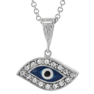 Journee Collection Sterling Silver Cubic Zirconia Evil Eye Necklace