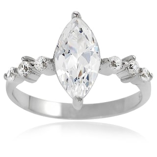 Journee Collection Sterling Silver Cubic Zirconia Marquise Bridal-style Ring