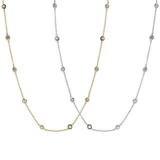 Tressa Silver or Goldplated Silver Cubic Zirconia Vintage Necklace