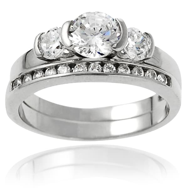 Journee Collection Sterling Silver Cubic Zirconia Round Bridal-style Ring Set