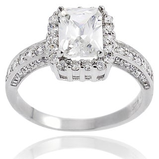 Journee Collection Highly Polished Sterling Silver Cubic Zirconia Bridal-style Ring