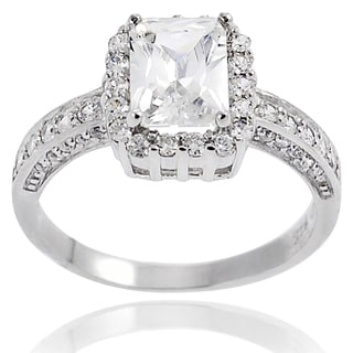 Tressa Highly Polished Sterling Silver Cubic Zirconia Bridal-style Ring