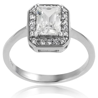 Tressa Sterling Silver White Cubic Zirconia Bridal-style Ring