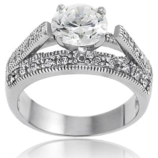 Tressa Collection Sterling Silver Round-cut Clear Cubic Zirconia Bridal-style Ring