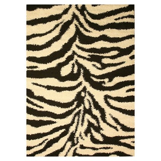 Black Shaggy Abstract Rug