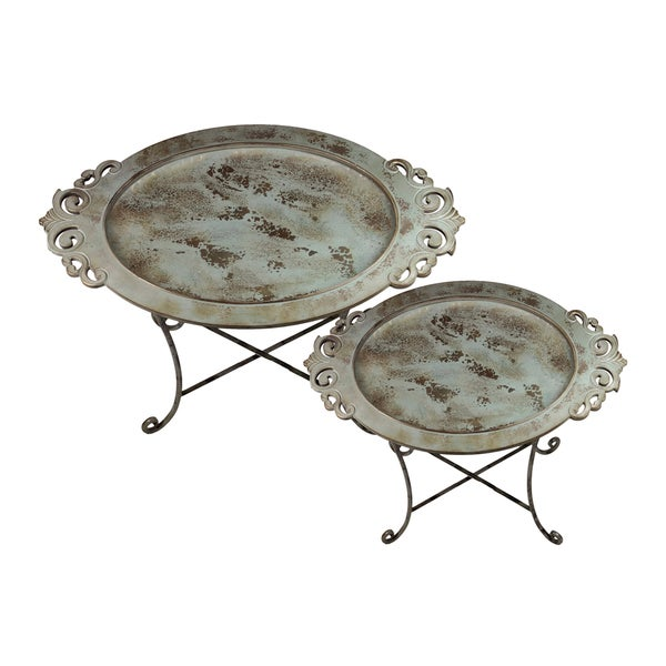 Metal Tray on Stand (Set of 2)