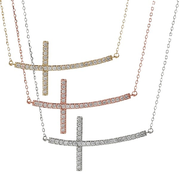 Journee Collection Sterling Silver Cubic Zirconia Sideways Curved Cross Necklace